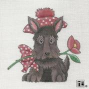 click here to view larger image of Scottie With Rose (hand painted canvases)