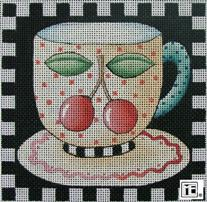 click here to view larger image of Cherry Teacup Square (hand painted canvases)