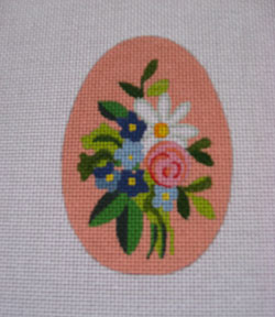 click here to view larger image of Peach Floral Egg (hand painted canvases)