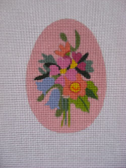 click here to view larger image of Pink Floral Egg (hand painted canvases)