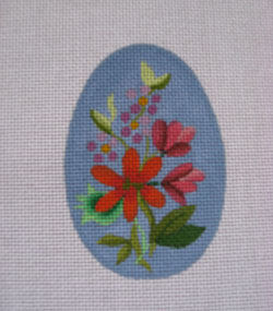 click here to view larger image of Blue Floral Egg (hand painted canvases)