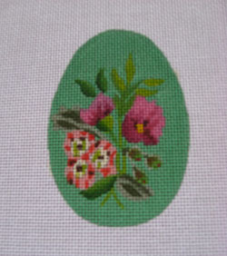 click here to view larger image of Green Floral Egg (hand painted canvases)