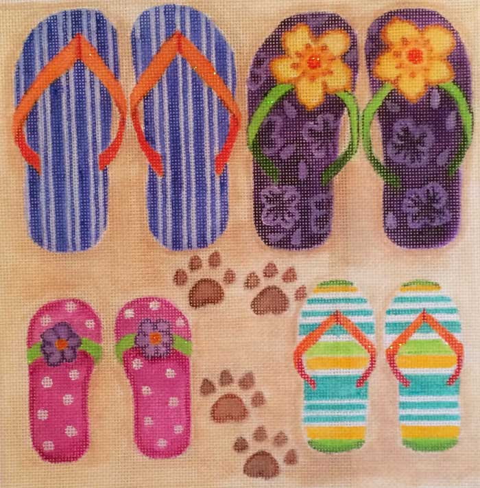 click here to view larger image of Family Flip Flops (hand painted canvases)