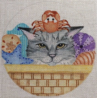 click here to view larger image of Beach Cat Basket (hand painted canvases)