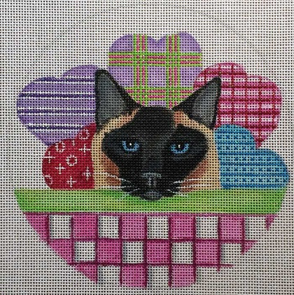 click here to view larger image of Valentine Cat Basket (hand painted canvases)