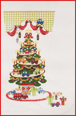 click here to view larger image of Transportation Tree - Cars and Trucks Stocking - 13ct (hand painted canvases)