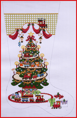 click here to view larger image of Transportation Tree - Trains On Tracks Stocking - 18ct (hand painted canvases)