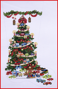 click here to view larger image of Transportation Tree With Cars, Trucks, and Red Ribbons Stocking (hand painted canvases)