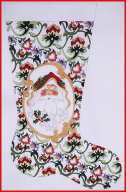 click here to view larger image of Santa Face In Gold Cartouche Stocking - 13ct (hand painted canvases)