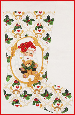 click here to view larger image of Santa Face With Hands Holding Bear Stocking - 13ct (hand painted canvases)