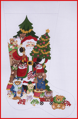 click here to view larger image of Santa With Multi Bears, Trees, and Flags Stocking (hand painted canvases)