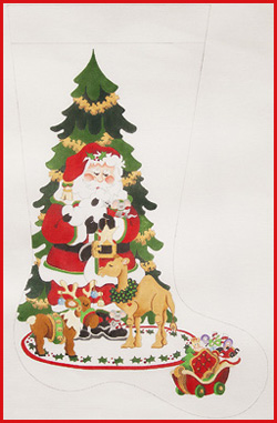 click here to view larger image of Santa Holding Lamb With Christmas Animals and Sleigh Stocking - 18ct (hand painted canvases)