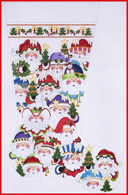click here to view larger image of Multi Santa Faces Stocking - 13ct (hand painted canvases)