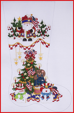 click here to view larger image of Deep Cuff With Patriotic Santa and Tree Stocking - 13ct (hand painted canvases)