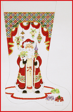 click here to view larger image of Santa With Long Coat and Staff Stocking - 18ct (hand painted canvases)