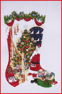 click here to view larger image of Santa Admiring Tree Stocking - 13ct (hand painted canvases)