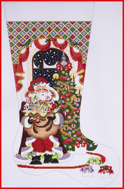 click here to view larger image of Santa In Cloak In Front Of Tree Stocking - 13ct (hand painted canvases)