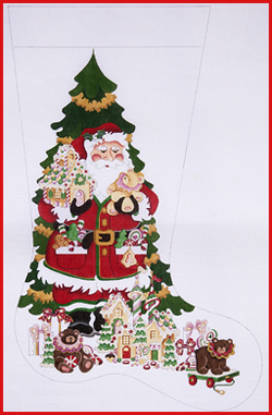 click here to view larger image of Santa With Gingerbread House And Toys Stocking - 18ct (hand painted canvases)