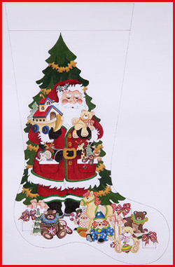click here to view larger image of Santa With Ark And Toys Stocking - 18ct (hand painted canvases)