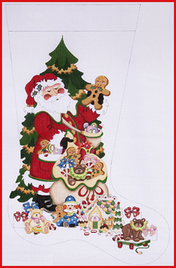click here to view larger image of Santa Holding Gingerbread Man Stocking - 13ct (hand painted canvases)
