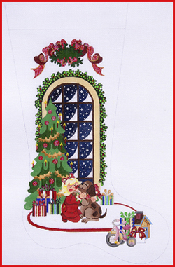 click here to view larger image of Best Gift - Girl With Dog In Front Of Tree Stocking - 13ct - Ribbon Topper (hand painted canvases)