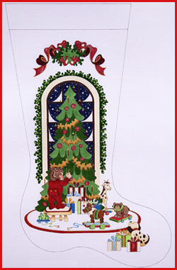 click here to view larger image of Boy Hanging Ornament On Tree With Animals On Rollers Stocking - Ribbon Topper - 13ct (hand painted canvases)