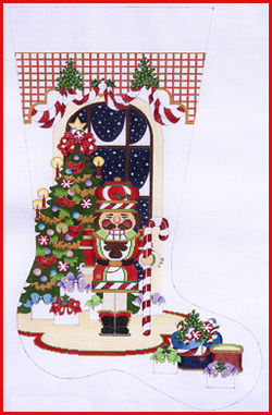 click here to view larger image of Candy Cane Nutcracker Stocking - 13ct (hand painted canvases)