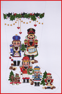 click here to view larger image of Five Nutcrackers With Squirrel On Rollers Stocking - 13ct (hand painted canvases)