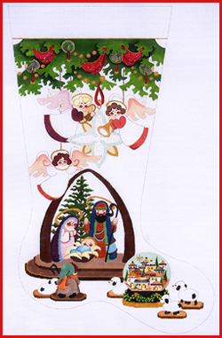 click here to view larger image of Under The Three Stocking - Nativity With Town Snowglobe - 18ct (hand painted canvases)