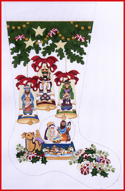 click here to view larger image of Under The Three Stocking - Wisemen Bells With Nativity Snowglobe - 13ct (hand painted canvases)