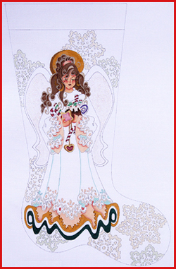 click here to view larger image of Brunette Sugarplum Angel With Snowflakes, Cookies, and Candy Stocking - 18ct (hand painted canvases)