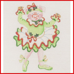 click here to view larger image of Dancing Pig In Green Christmas Tutu Ornament (hand painted canvases)