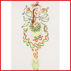 click here to view larger image of Dancing Giraffe In Green Christmas Tutu Holding Strand Of Lights Ornament (hand painted canvases)