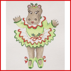 click here to view larger image of Dancing Hippopotamus In Green Christmas Tutu On Her Toes Ornament (hand painted canvases)