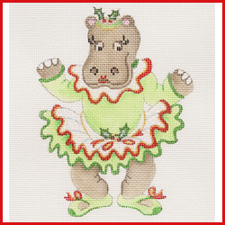 click here to view larger image of Dancing Hippopotamus In Green Christmas Tutu Doing A Plie Ornament (hand painted canvases)