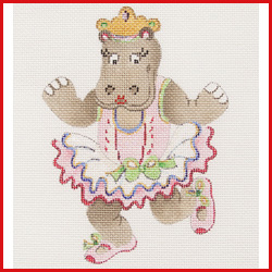 click here to view larger image of Dancing Hippopotamus In Pink Tutu Ornament (hand painted canvases)