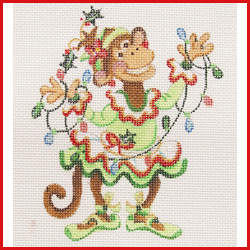 click here to view larger image of Dancing Monkey In Green Christmas Tutu Holding A Strand Of Lights Ornament (hand painted canvases)