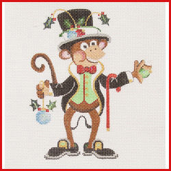 click here to view larger image of Dancing Monkey In Tuxedo and Top Hat Ornament (hand painted canvases)