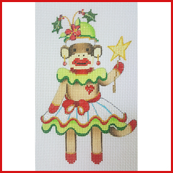 click here to view larger image of Girl Sock Monkey In Christmas Dress And Hat Ornament (hand painted canvases)