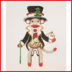 click here to view larger image of Dapper Sock Monkey In Tuxedo and Top Hat Ornament (hand painted canvases)