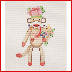 click here to view larger image of Girl Sock Monkey Holding Flowers With Pink Flower Hat Ornament (hand painted canvases)