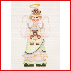 click here to view larger image of Angel Dressed In Green And Yellow Holding A Bear Ornament (hand painted canvases)