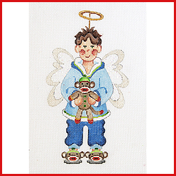 click here to view larger image of Boy Angel Holding A Sock Monkey Ornament (hand painted canvases)