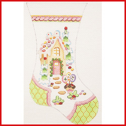 click here to view larger image of Large Mini Stocking With Gingerbread House Ornament - Pale Green Toe and Heel (hand painted canvases)
