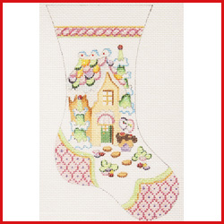 click here to view larger image of Large Mini Stocking With Gingerbread House Ornament - Pink Toe and Heel (hand painted canvases)