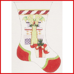 click here to view larger image of Large Mini Stocking With Stack Of Packages Ornament (hand painted canvases)