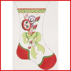 click here to view larger image of Large Mini Stocking With Candy In Green Bow Ornament (hand painted canvases)