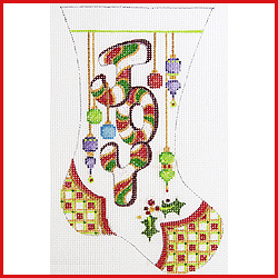 click here to view larger image of Large Mini Stocking With Word JOY and Ornaments Ornament (hand painted canvases)