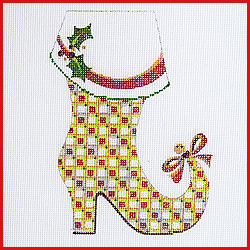 click here to view larger image of Mrs Claus Boot With Bow On Toe Ornament (hand painted canvases)