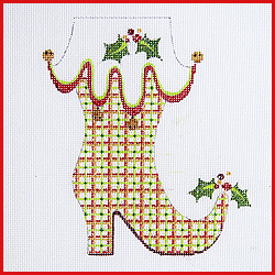 click here to view larger image of Mrs Claus Boot With Holly On Toe Ornament (hand painted canvases)